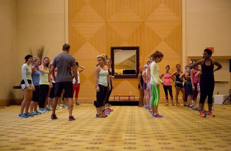Leading a functional fitness class at the Lululemon Leadership Event (Vancouver, August 2013)