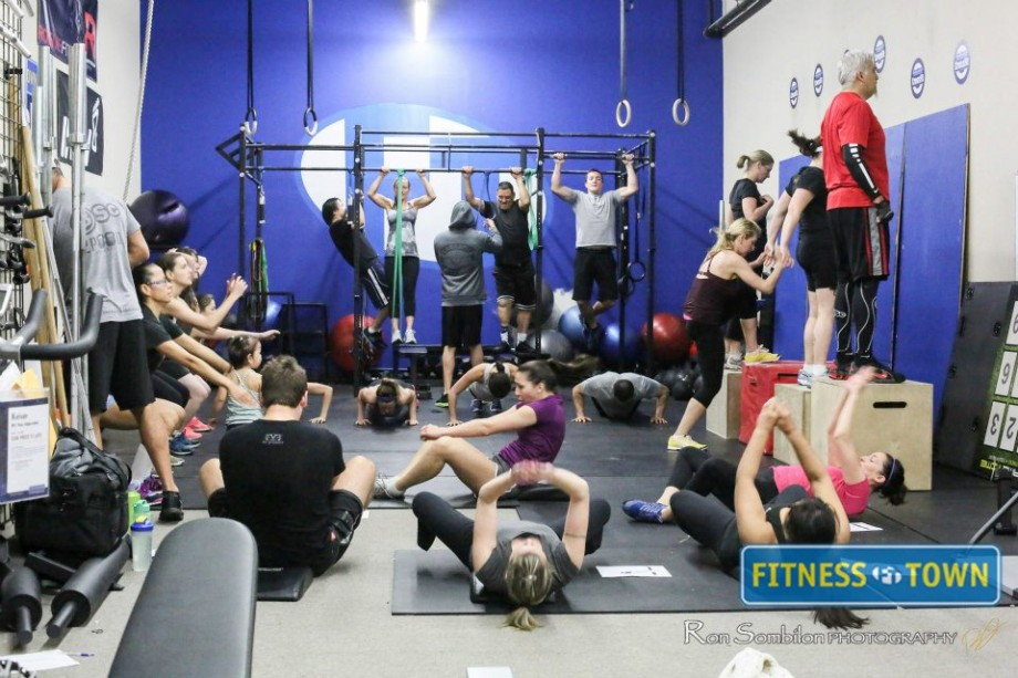 A functional fitness class in full swing...