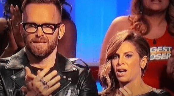 Shock and disbelief on the faces of trainers Bob Harper and Jillian Michaels when Rachel Frederickson takes the stage.