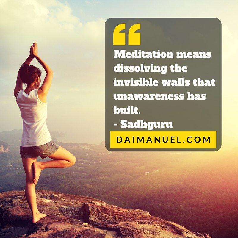 meditation means dissolving unawareness
