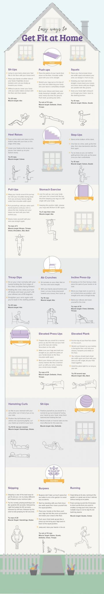 easy ways to get fit at home infographic