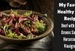 Beef with baby greens and horseradish vinaigrette
